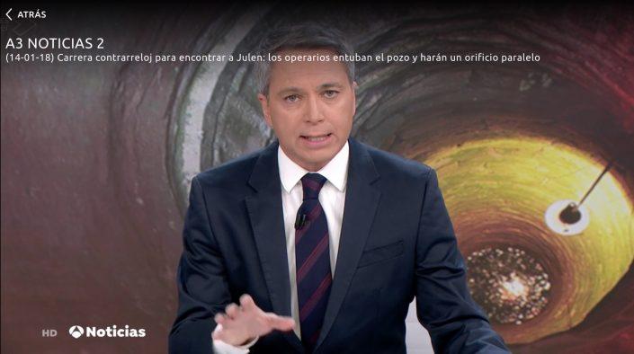 NUESTRO SOCIO DIRECTOR, JOSE MANUEL CARRASCO, APARECE EN EL TELEDIARIO DE ANTENA 3 DEL 14 ENERO 2018